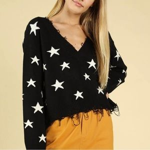 Honey Punch Distressed Star Sweater